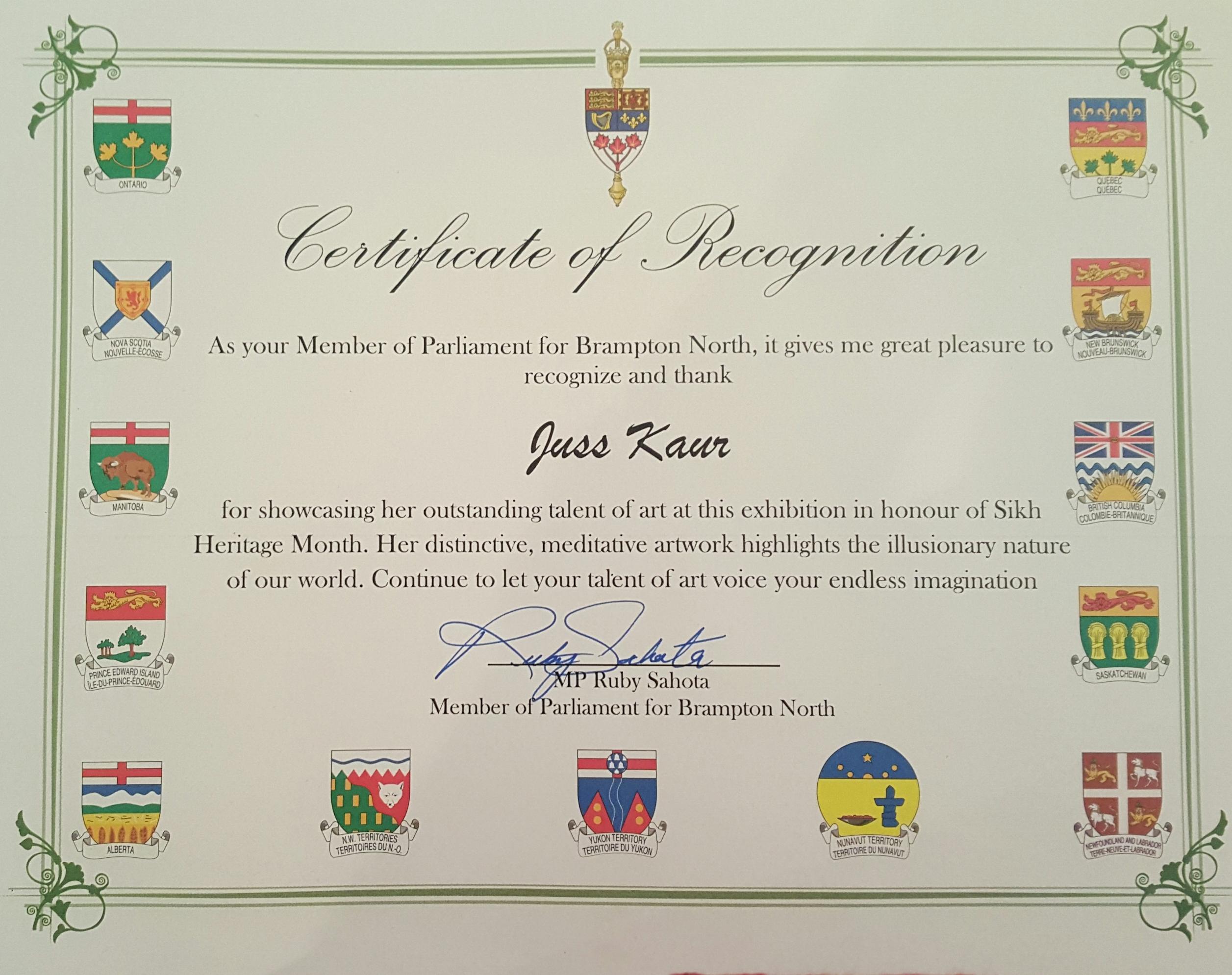 Certificate of Appreciation Ruby S